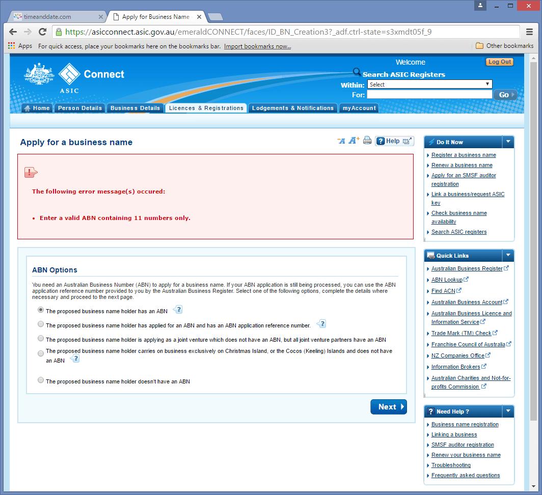 Australian Business Name Registration on A S I C  Register